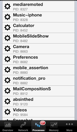 Background process list on the iPhone