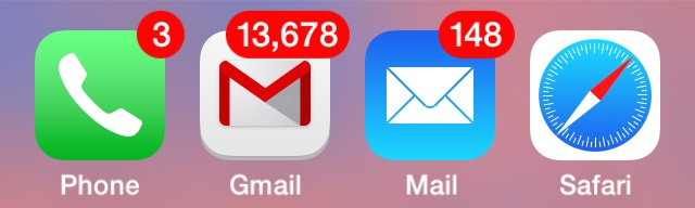 Unread Mail count numbers on the iPhone mail apps