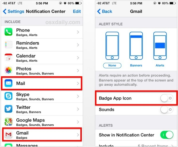 Turn off unread mail number on the email icons of iOS