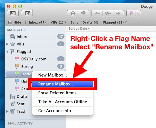 Rename a flag in Mail app for Mac