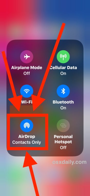 Tap on the AirDrop button in expanded Control Center of iOS 11