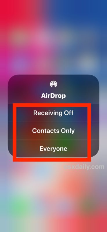 Choose your AirDrop setting in iOS 13 Control Center