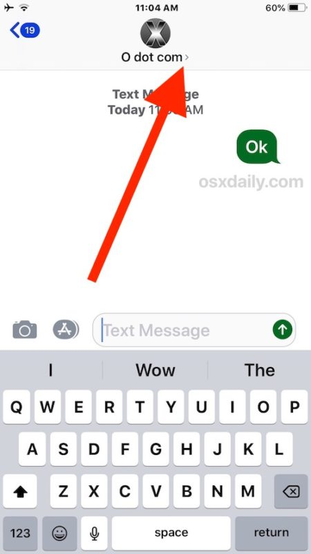 How to find the Info Details button in Messages for iOS 12