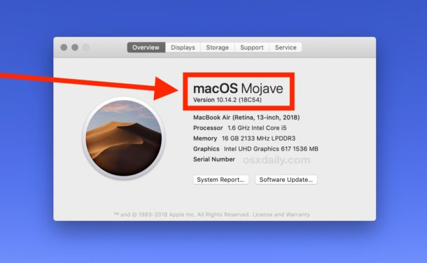 See what Mac OS version is running and installed on a Mac