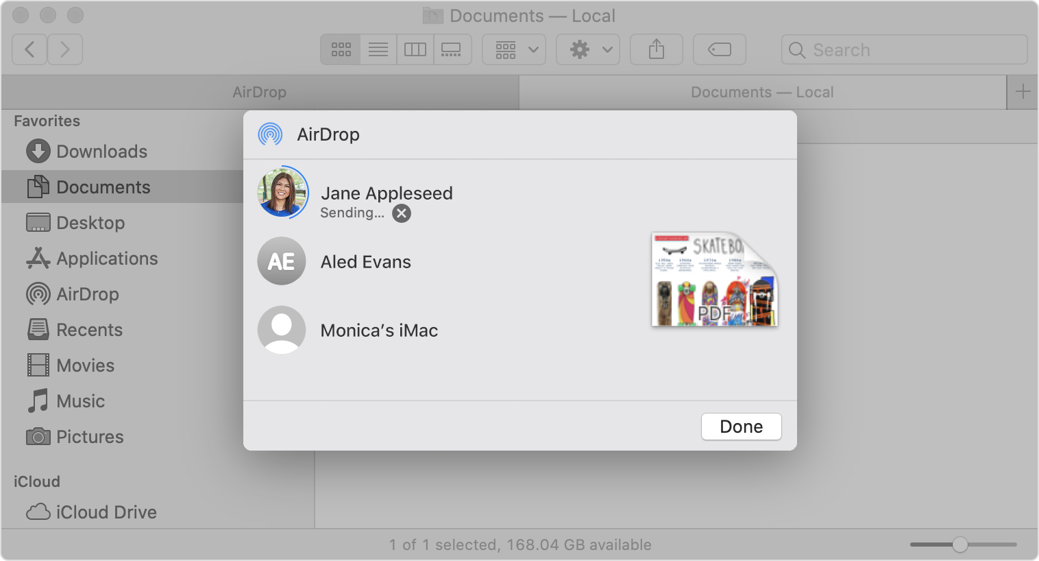 AirDrop sheet in Finder window